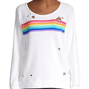 Chaser Rainbow Distressed White Sweater